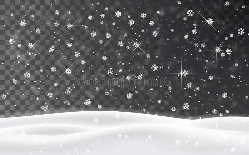 Bożenarodzeniowy spada śnieżny wektor odizolowywający na ciemnym tle Płatek śniegu dekoraci przejrzysty skutek Xmas płatka śnieżn royalty ilustracja