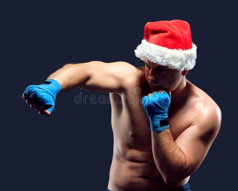 Bożenarodzeniowy sprawność fizyczna bokser jest ubranym Santa kapeluszu boks zdjęcia royalty free
