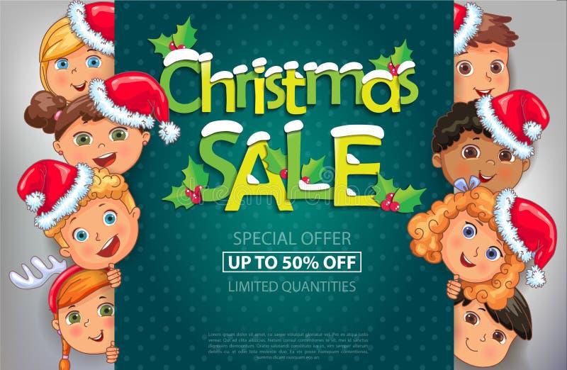 Bożenarodzeniowy sprzedaż projekt z ślicznymi dzieciakami ilustracja wektor