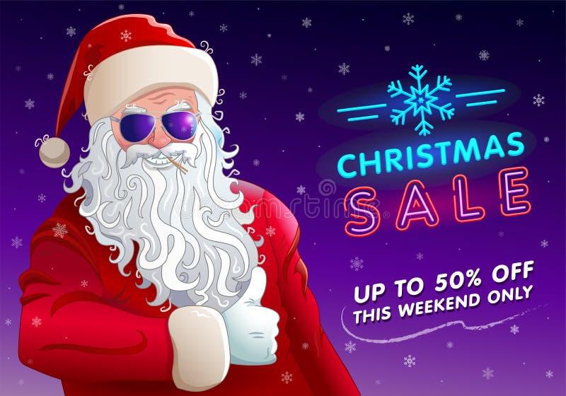 Bożenarodzeniowy sprzedaży zaproszenie z chłodno Santa Claus ilustracja wektor
