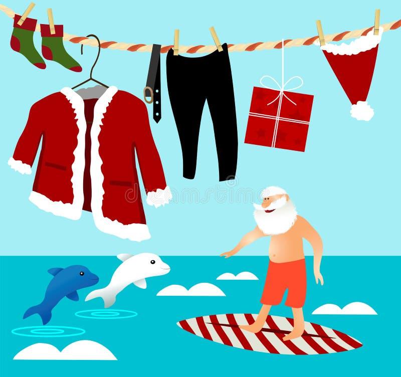 Bożenarodzeniowy surfing z Święty Mikołaj ilustracji
