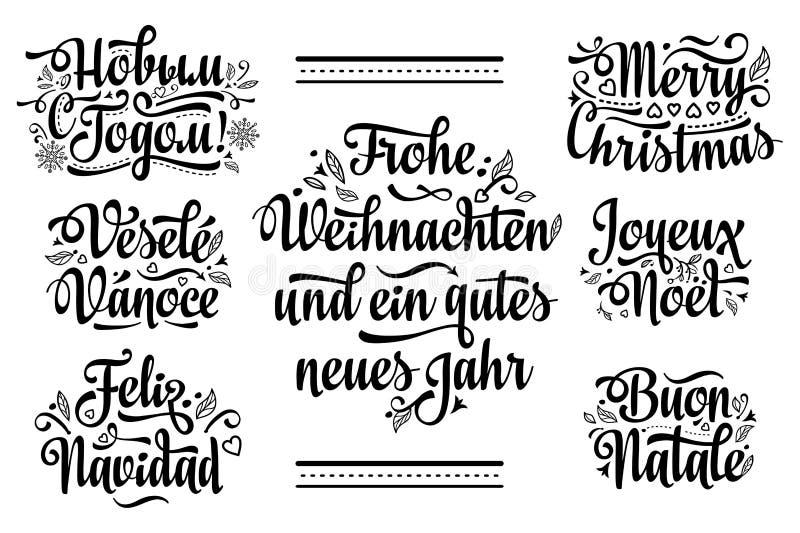 Bożenarodzeniowy szablon Neues Jahr, Frohe Weihnacht, Novij bóg, Buon Natale, Vesele Vanose, Feliz Navidad, Joyeux Noà 'l ilustracja wektor
