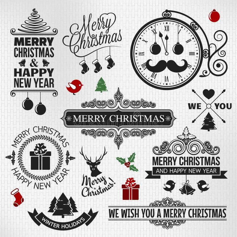 Bożenarodzeniowy szczęśliwy nowego roku rocznika orntae etykietki set ilustracji