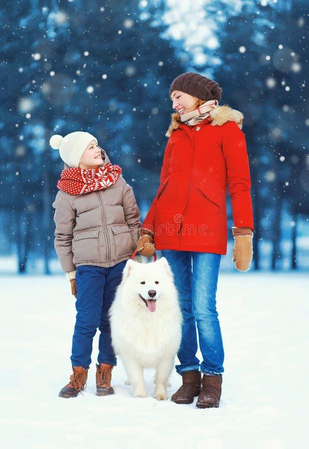 Bożenarodzeniowy szczęśliwy rodziny, matki i syna dziecka odprowadzenie z białym Samoyed psem na śniegu w zima dniu, zdjęcia stock