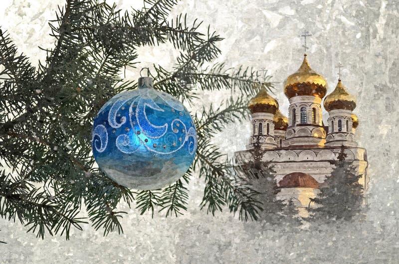 Bożenarodzeniowy szklany ballon na tle Ortodoksalny kościół Boże Narodzenia Malować mokrą akwarelę na papierze Naiwna sztuka fotografia royalty free