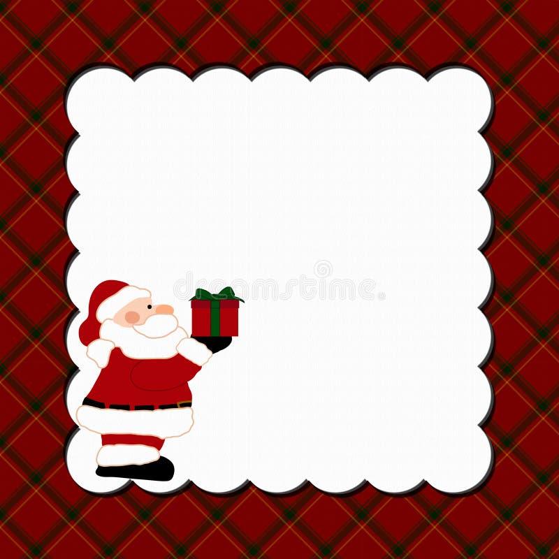 Bożenarodzeniowy szkockiej kraty tło z Santa ilustracja wektor