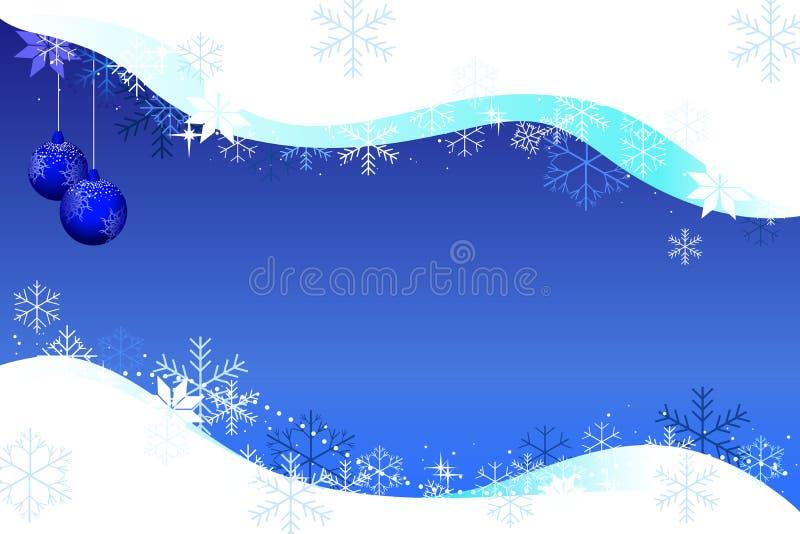 Bożenarodzeniowy tła snowdrift, piłki i ilustracja wektor