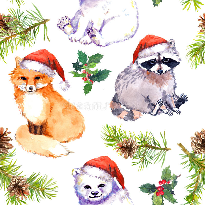 Bożenarodzeniowy tło - śliczni zwierzęta w czerwonych Santa ` s kapeluszach, sosna rozgałęziają się deseniowy target101_0_ akware ilustracji