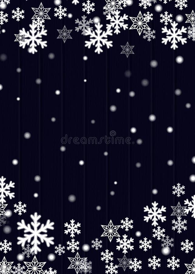 Bożenarodzeniowy tło, błękitna drewniana deski deska z zamazanymi białymi płatek śniegu gwiazdami i śnieżne piłki, wektor eps10 royalty ilustracja