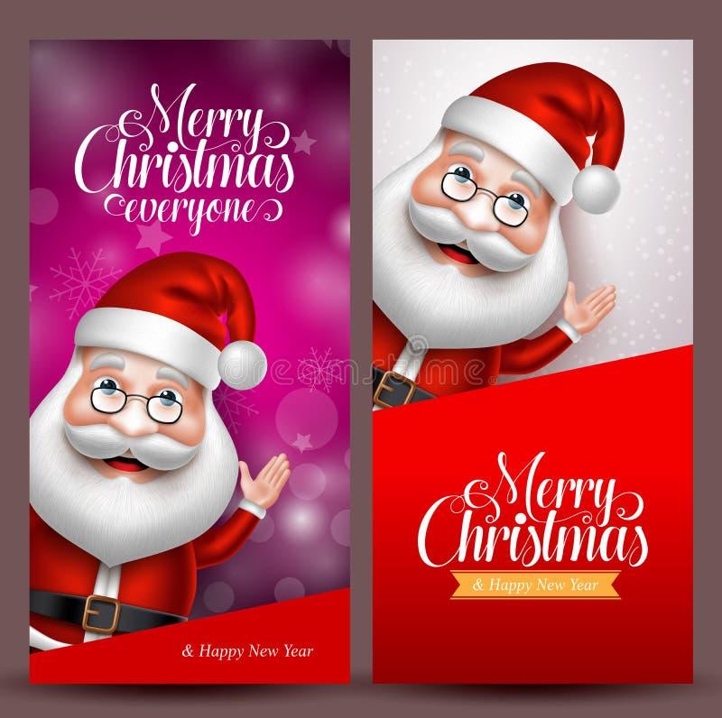 Bożenarodzeniowy tło i wektorowi sztandary z Santa Claus ilustracja wektor