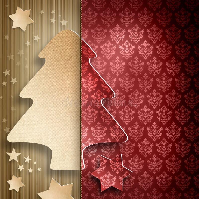 Bożenarodzeniowy tło - kształt drzewo i gwiazdy royalty ilustracja