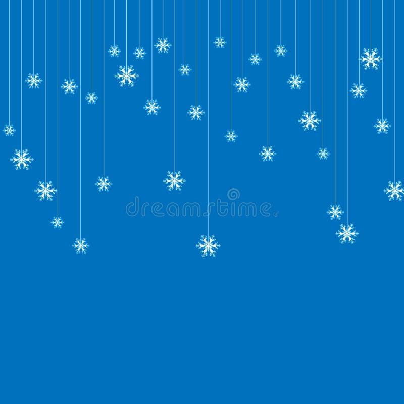 Bożenarodzeniowy tło lub zaproszenie z wiszącymi płatek śniegu Wesoło boże narodzenia i Szczęśliwy nowego roku projekt Symbol świ