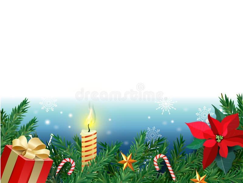 Bożenarodzeniowy tło, nowy rok dekoracja z jedlinowymi gałąź, koraliki, uświęcona jagoda i czerwień prezenta pudełko, płonąca świ ilustracji