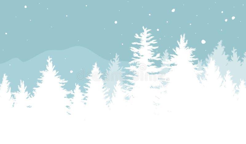 Bożenarodzeniowy tło projekt Jedlinowi drzewa z śniegiem spada w zima wektoru ilustracji royalty ilustracja