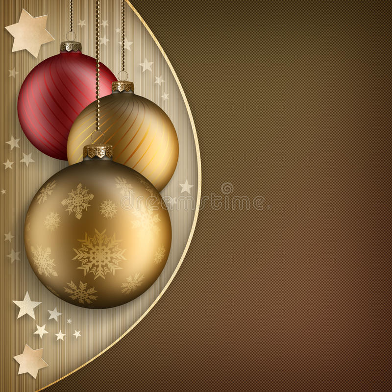 Bożenarodzeniowy tło szablon - baubles i gwiazdy royalty ilustracja
