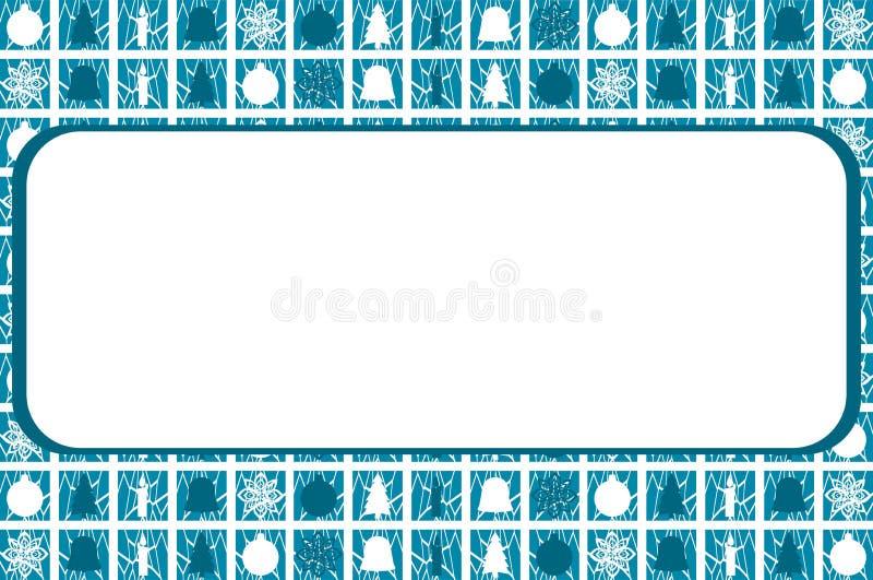 Bożenarodzeniowy tło w błękicie z symbolami royalty ilustracja