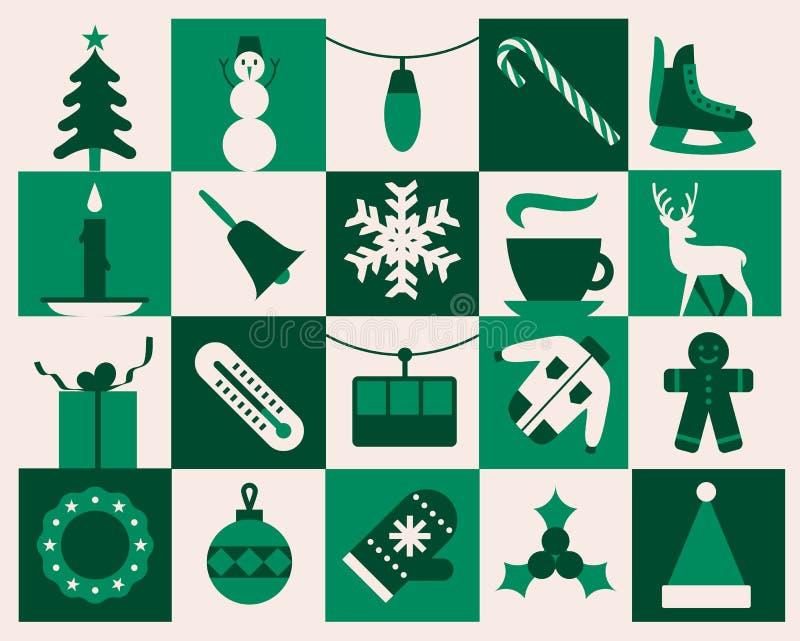 Bożenarodzeniowy tło, wektorowa płaska ilustracja, ikona set, zielony xmas wzór ilustracja wektor