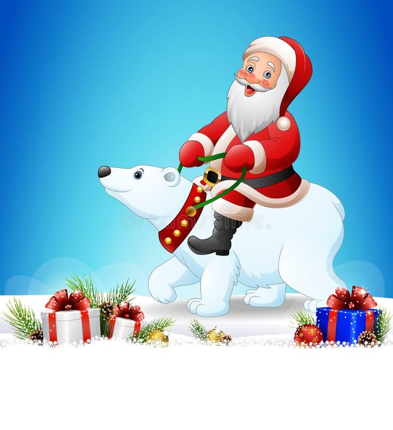 Bożenarodzeniowy tło z Święty Mikołaj jeździeckim niedźwiedziem polarnym royalty ilustracja