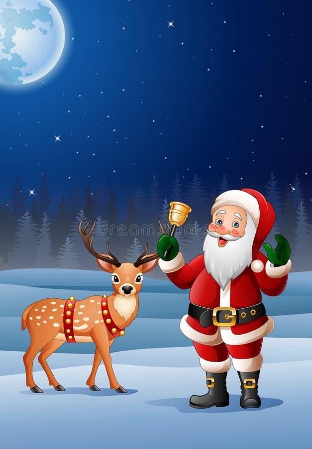Bożenarodzeniowy tło z Święty Mikołaj kreskówki dzwonienia dzwonem ilustracja wektor