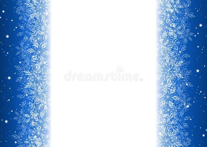 Bożenarodzeniowy tło z błyszczącymi płatkami śniegu ilustracji