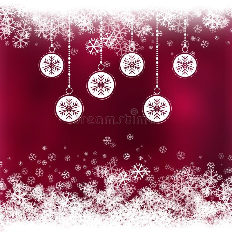 Bożenarodzeniowy tło z baubles z płatek śniegu projektem ilustracji