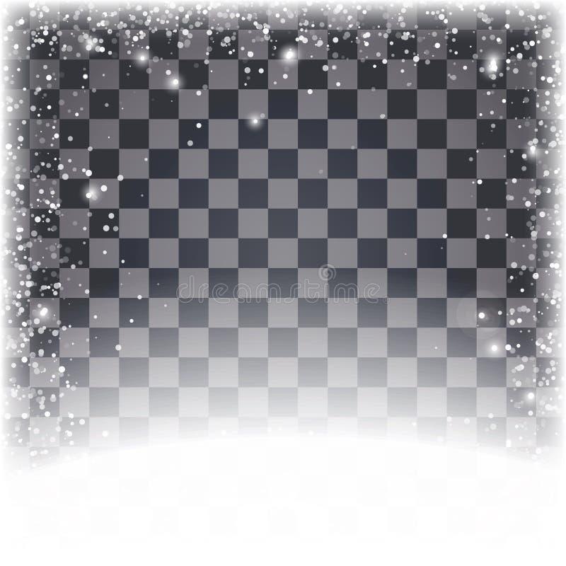 Bożenarodzeniowy tło z białymi śnieżnymi płatkami przy dolnym i przejrzystym barwionym tłem ilustracji