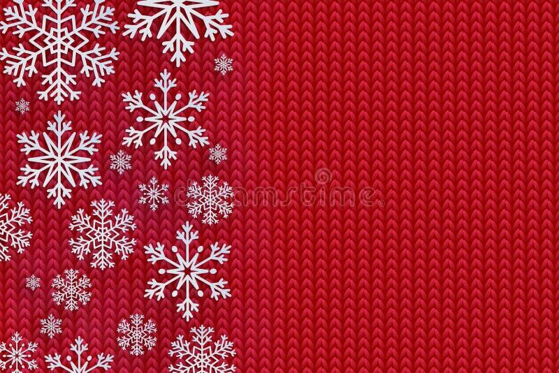 Bożenarodzeniowy tło z dekoracyjnym płatkiem śniegu Dzianina wzór Wesoło Boże Narodzenia i Szczęśliwa Nowego Roku powitań karta p ilustracji