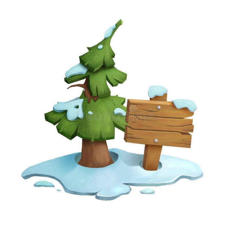Bożenarodzeniowy tło z drewnianą deską i jedlinowy drzewo w śniegu royalty ilustracja