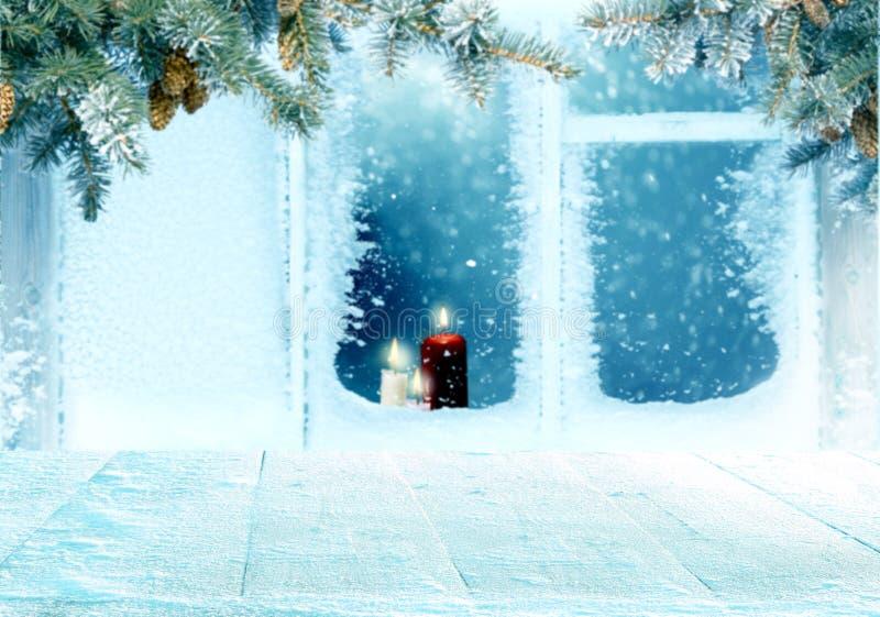 Bożenarodzeniowy tło z frosted okno z obraz royalty free