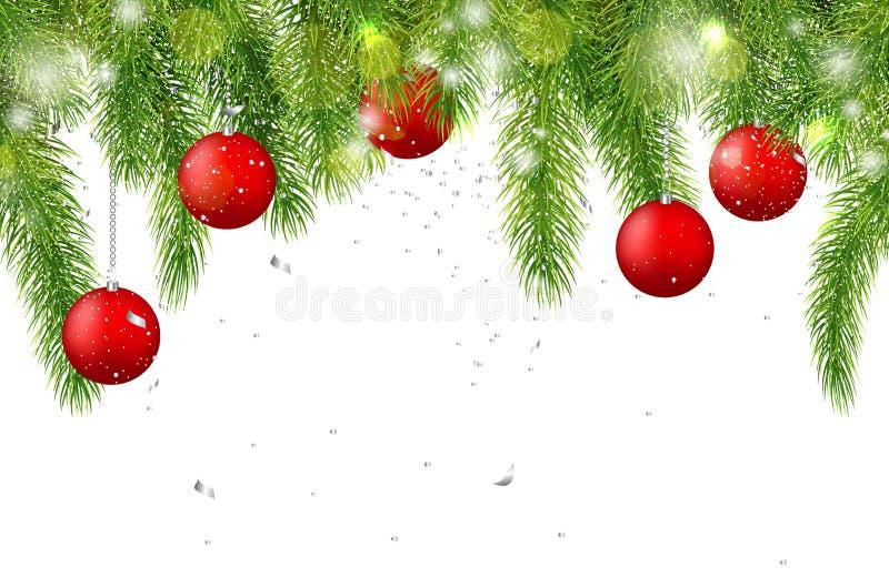 Bożenarodzeniowy tło z jedlinowymi gałąź i czerwonymi piłkami również zwrócić corel ilustracji wektora zdjęcie royalty free