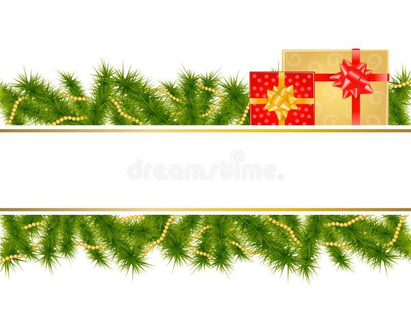 Bożenarodzeniowy tło z jodła prezentami i gałąź ilustracji