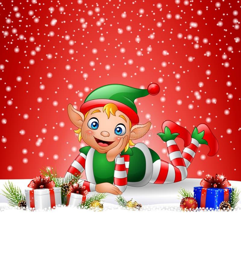 Bożenarodzeniowy tło z małym elfem kłaść na śniegu royalty ilustracja