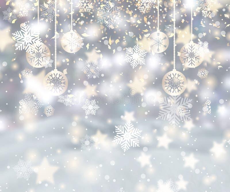 Bożenarodzeniowy tło z płatek śniegu, baubles i confetti, royalty ilustracja