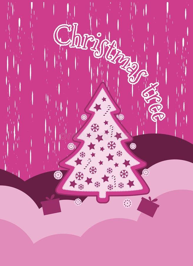 Bożenarodzeniowy tło z płatkami śniegu choinka i teraźniejszość odznaczony świąteczne drzewko Nowy Year& x27; s świętowania kolaż ilustracja wektor