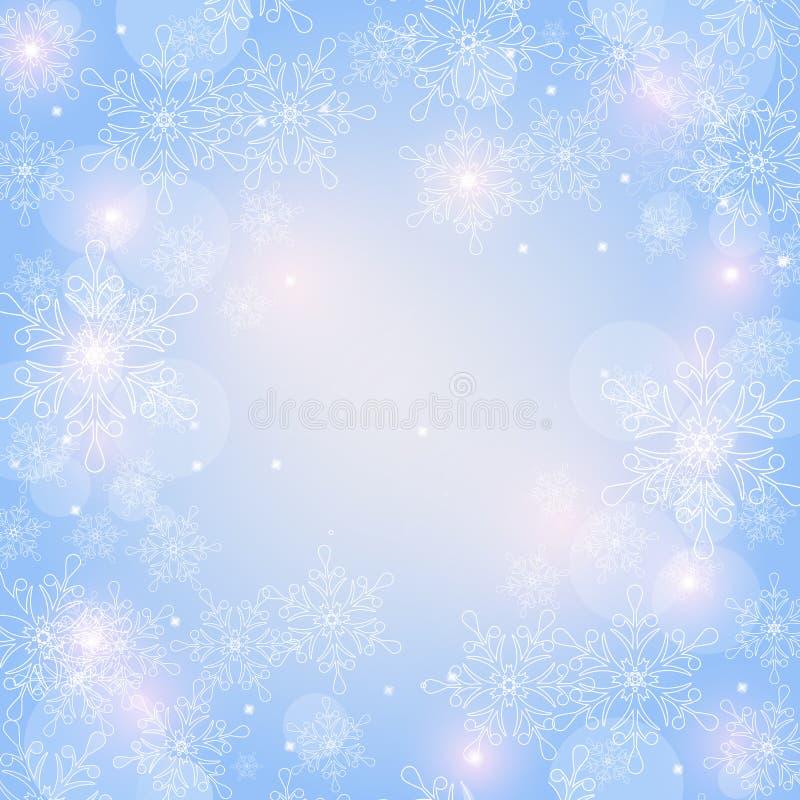 Bożenarodzeniowy tło z płatkami śniegu i przestrzeń dla teksta wektor royalty ilustracja