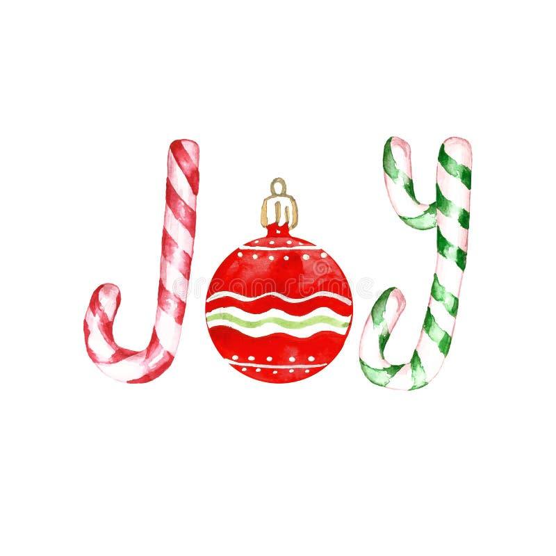 Bożenarodzeniowy tło z słowo radością, robić z cukierek trzcinami i czerwonym szklanym bauble ornamentem ilustracja wektor