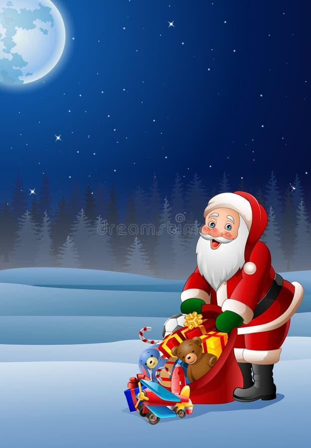 Bożenarodzeniowy tło z Santa klauzula mienia torbą teraźniejszość royalty ilustracja