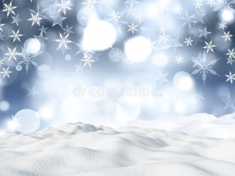 Bożenarodzeniowy tło z snowdrift na płatka śniegu i gwiazd desig royalty ilustracja