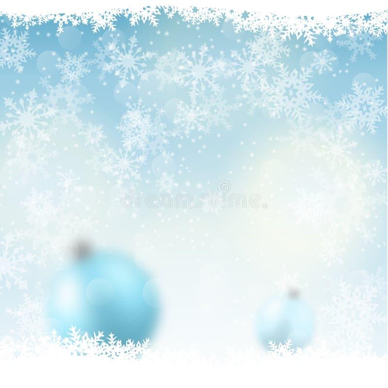 Bożenarodzeniowy tło, zamazane błękitne piłki w śniegu, ilustracja royalty ilustracja