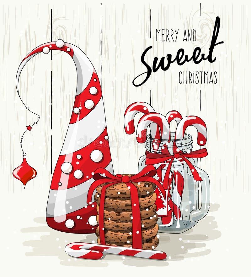Bożenarodzeniowy temat, abstrakcjonistyczna choinka, sterta ciastka z czerwonym faborkiem i cukierek trzciny w szklanym słoju, il royalty ilustracja