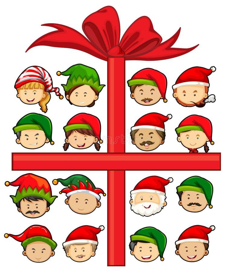 Bożenarodzeniowy temat z Santa i elfami ilustracji