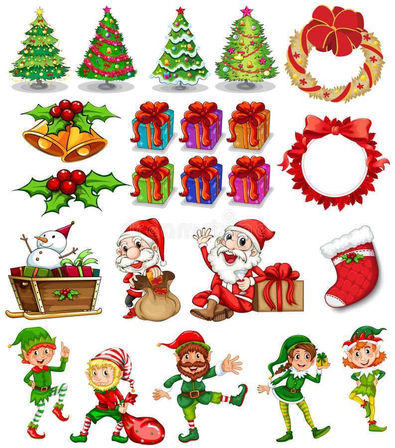 Bożenarodzeniowy temat z Santa i ornamentami royalty ilustracja