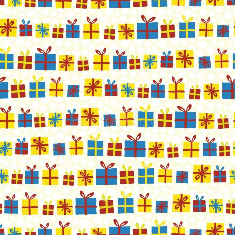 Bożenarodzeniowy teraźniejszość wektoru bezszwowy wzór z rzędu Prezentów pudełka z łękami czerwień, kolor żółty i błękit na biały royalty ilustracja