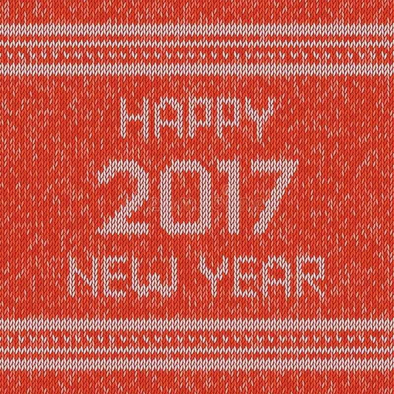 Bożenarodzeniowy trykotowy puloweru projekta wzór Szczęśliwy nowego roku 2017 tekst wektor royalty ilustracja