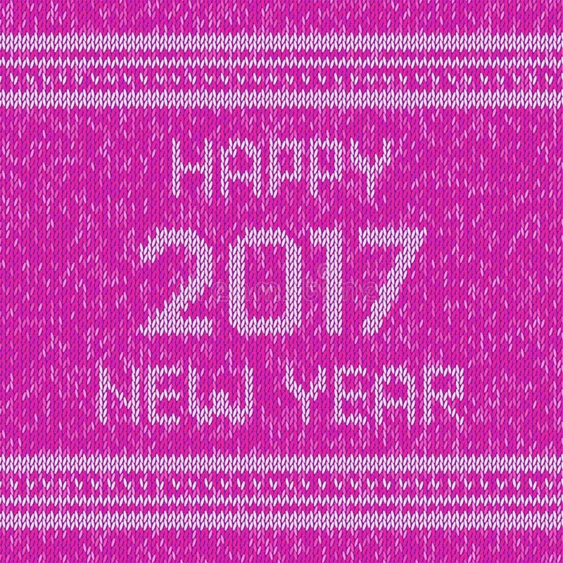Bożenarodzeniowy trykotowy puloweru projekta wzór Szczęśliwy nowego roku 2017 tekst wektor ilustracji