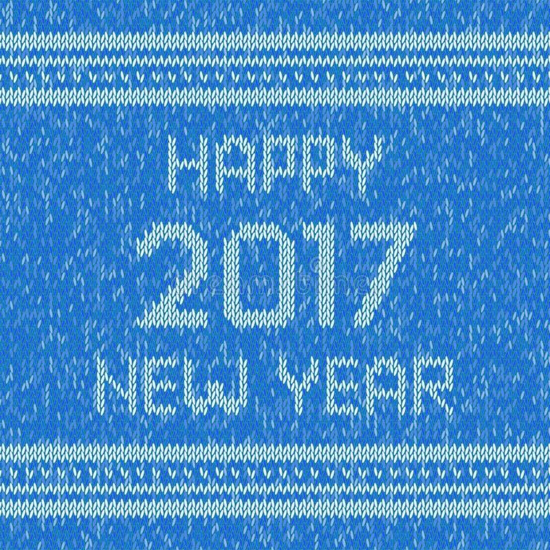 Bożenarodzeniowy trykotowy puloweru projekta wzór Szczęśliwy nowego roku 2017 tekst wektor ilustracja wektor