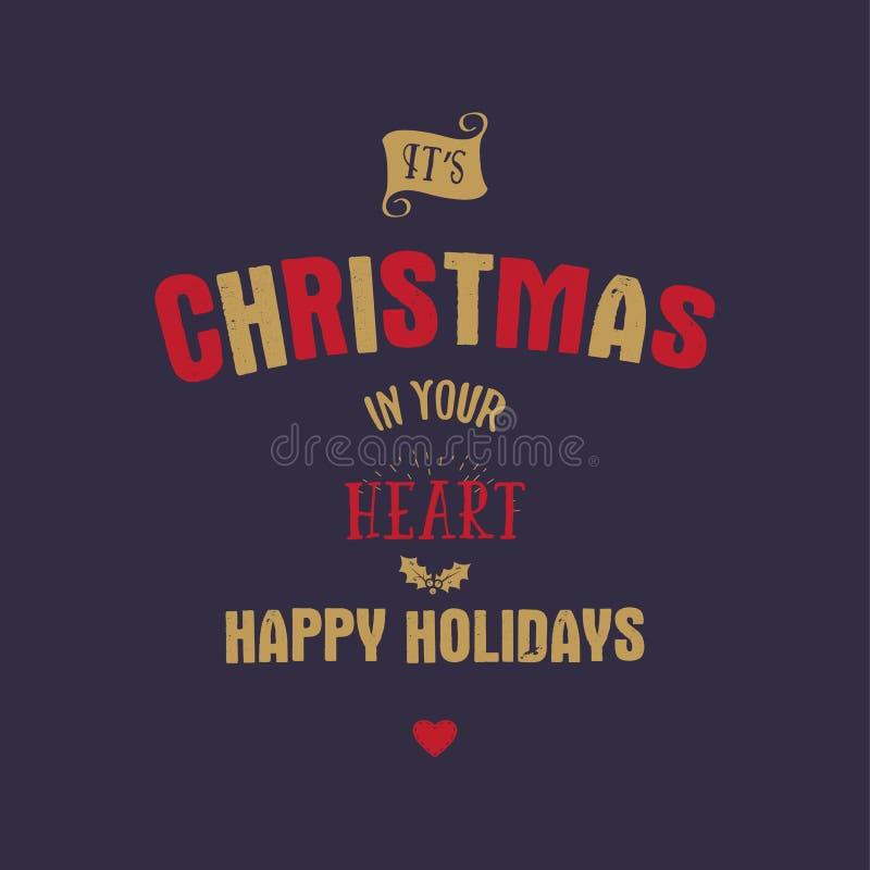 Bożenarodzeniowy typografii wycena projekt Swój xmas w twój sercu Szczęśliwy wakacje znak Inspiracyjny druk dla t koszula, kubki ilustracji