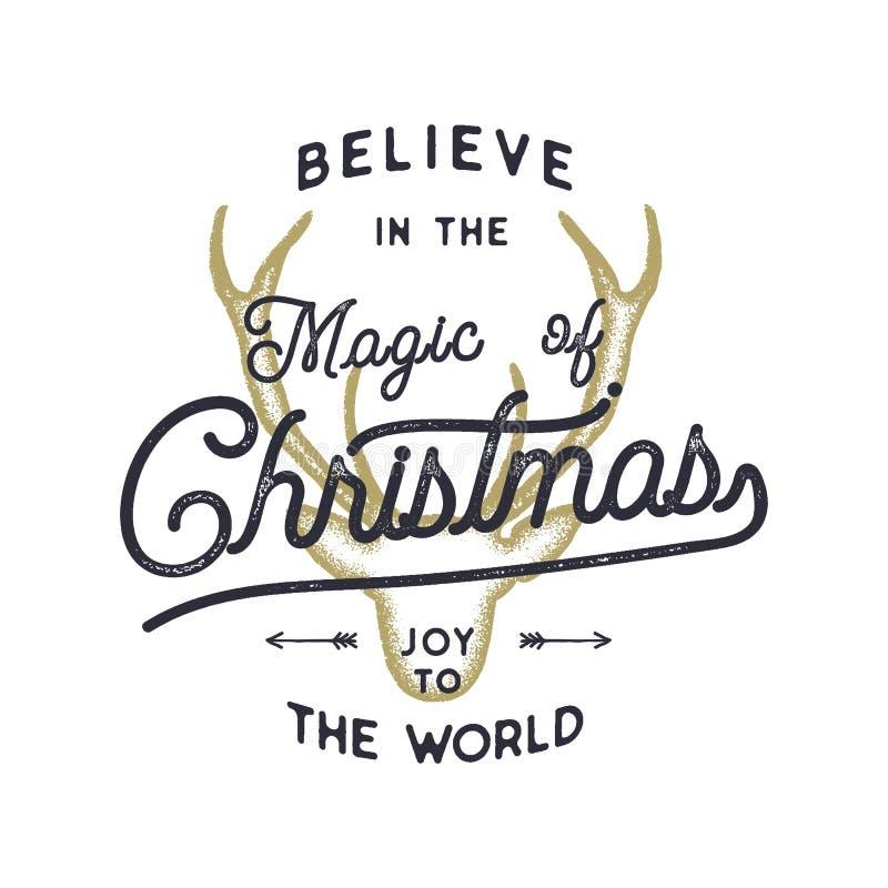 Bożenarodzeniowy typografii wycena projekt Wierzy w magii boże narodzenia Radość światowy znak Inspiracyjny druk dla t koszula ilustracja wektor
