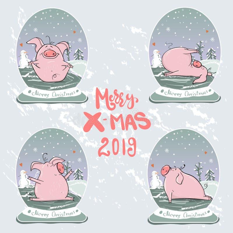 Bożenarodzeniowy ustawiający śliczne małe świnie symbolu nowy rok Wektorowa zimy ilustracja ilustracji