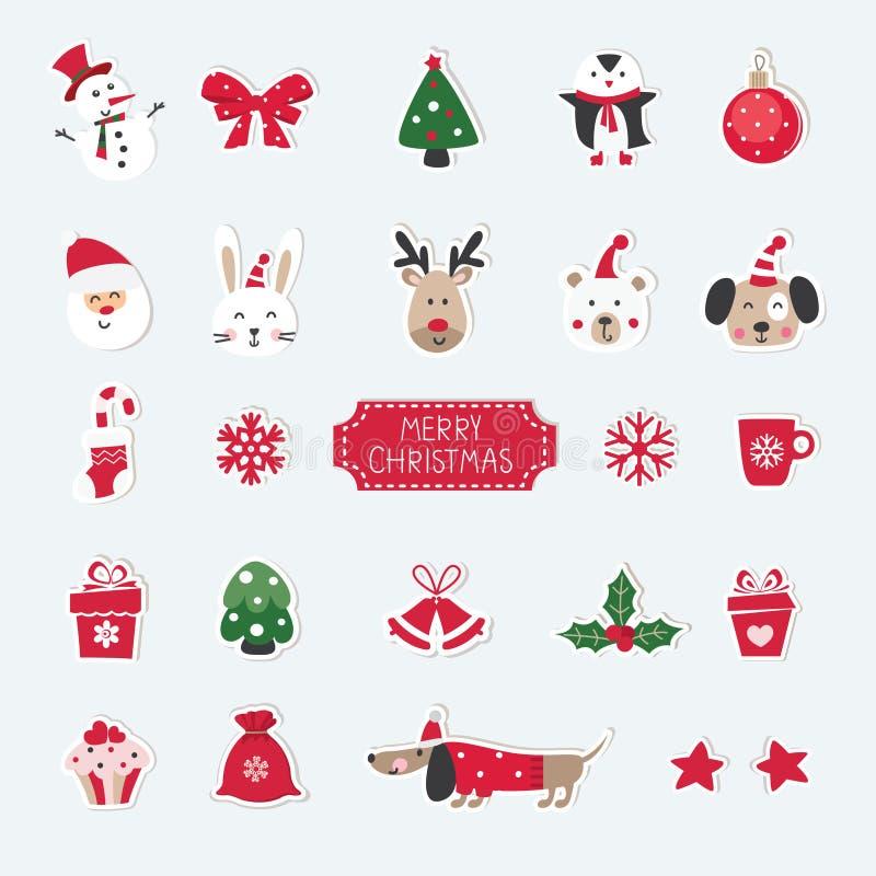 Bożenarodzeniowy ustawiający śliczni zwierzęta, obje, Santa, bałwanu i bożych narodzeń, ilustracja wektor